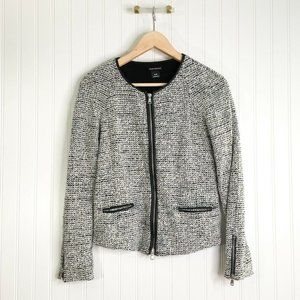 Club Monaco Womens Tweed Jacket Multicolor Gray Zi